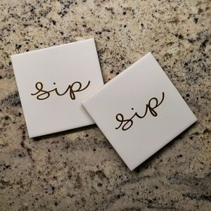 Tile Coasters | white | gold | pair | sip